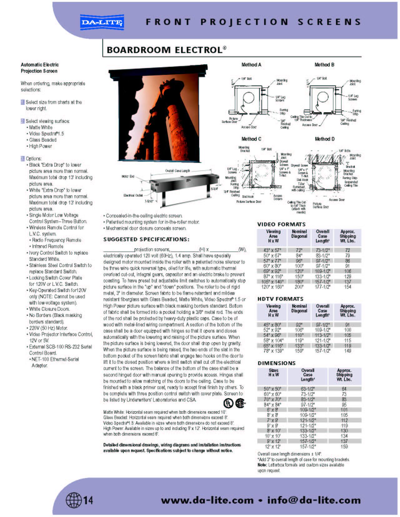 Wwwgablindcom ProductsdaliteBoardroom Electrol - Da lite tile
